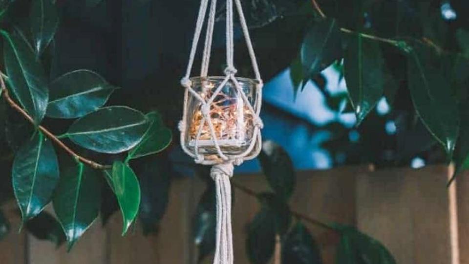 Grab n' Go Craft: Easy Macramé Jar Hanger